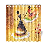 InterestPrint Modern Oil Painting Decor Home Bath Decor, Spanish Dance Dancing Girls Waterproof Polyester Bathroom Shower Curtain Bath Decorations with Hooks, 69 x 72 Inches