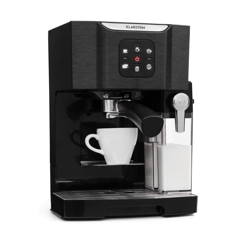 Klarstein BellaVita • Macchina da Caffè • Funzione 3 in 1 per Espresso, Cappuccino e Latte Macchiato • Montalatte da 0,4 L • 1450 Watt • 20 Bar • Serbatoio dell'Acqua da 1,4 L • Sistema Autopulente • Argento
