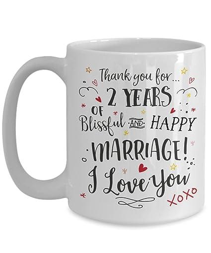 Amazoncom 2nd Wedding Anniversary Gift Mug Blissful Happy