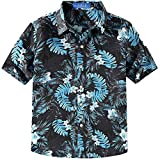 SSLR Big Boy's Summer Button Down Casual Short Sleeve Hawaiian Shirt (X-Large (18-20), Black Grey)