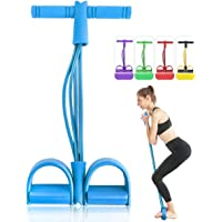 4 Tubes Natural Latex Foot Pedal Elastic Pull Rope with Handle Fitness Equipment Bodybuilding Expander for Abdomen/Waist/Arm/Leg Stretching Slimming Training
