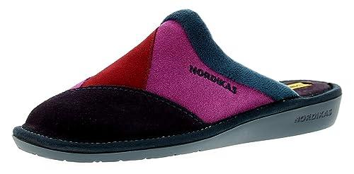 Nordikas - Zapatillas de Estar por casa de Cuero para Mujer Morado Morado, Color Morado, Talla 42: Amazon.es: Zapatos y complementos