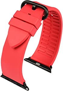 MAIKES Apple Watch Bands 42mm 38mm, Sport Fluoro Rubber Watch Strap for Apple Watch Series 3 2 1 iWatch All Models Watchband (Rose + Black Clasp, Band for Apple Watch 42mm)