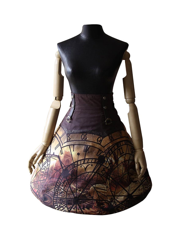 Exclusive Vintage Steampunk Designer High Waist Knee Length Buckles Skirt