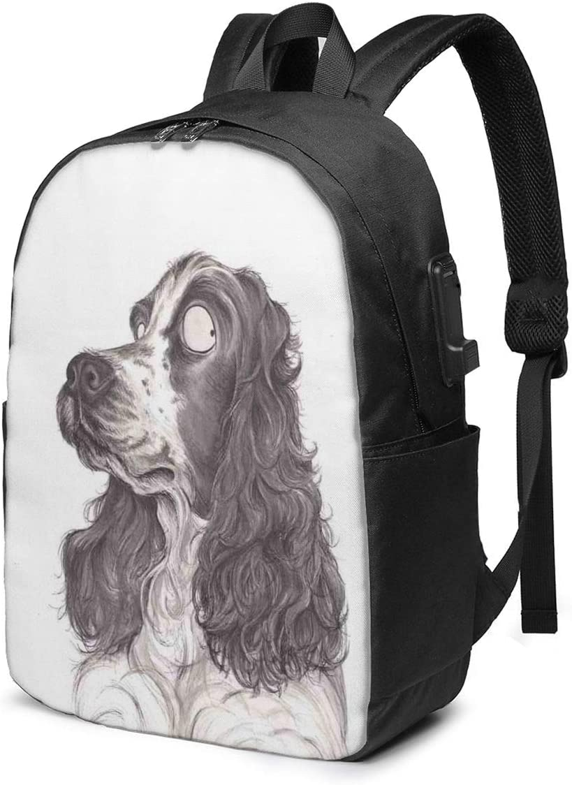 Cute Cocker Spaniel Dog Funny Art Personality 17 Inch College School Computer Bag Laptop Backpack with USB Charging Port for Women Men College Student Travel Outdoor Camping Daypack
