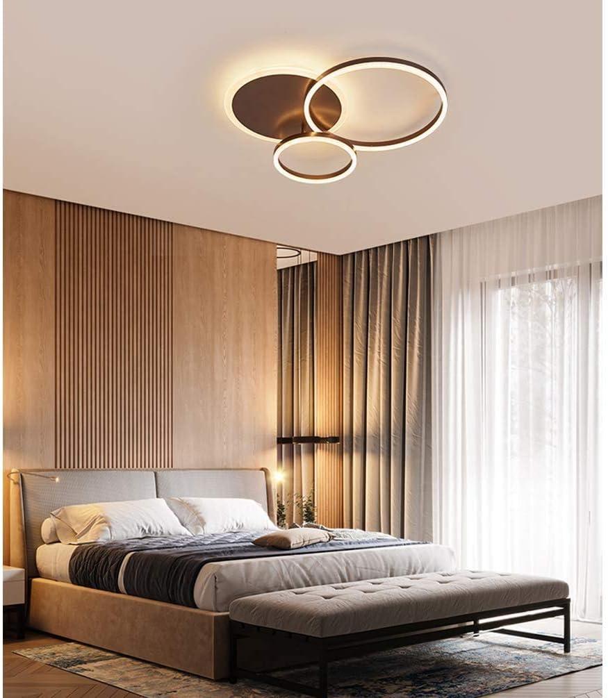 54W LED Braun Deckenleuchte Modern 3 Ring Design Runden Dimmbar Deckenlampe f/ür Schlafzimmer Wohnzimmer Esszimmer Kinderzimmer Badezimmer /Ø55cm Acryl Metall Schlafzimmerlampe mit Fernbedienung