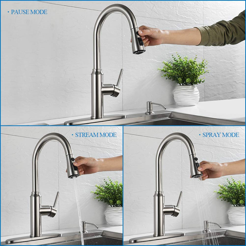 Kitchen Faucet Pull Down-Arofa A01LY Commercial Modern Single Hole Single Handle high arc Stainless Steel Brushed Nickel Kitchen Sink faucets with Pull Out Sprayer by Arofa (Image #4)