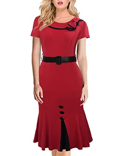 Women's Elegant Stretchy Tunic Business Party Mermaid Sheath Dress with Belt