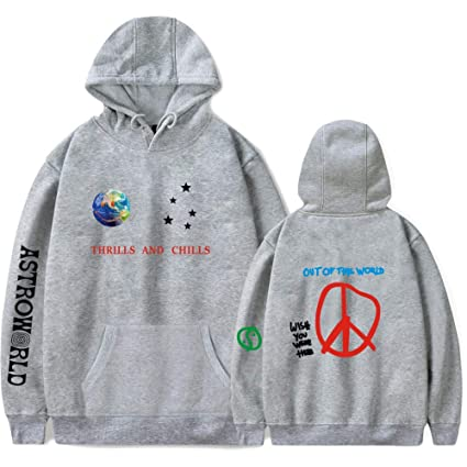 JJZHY Travis Scotts Astroworld Moda Simple Moda Color sólido Sudaderas para Hombres y Mujeres,Gris