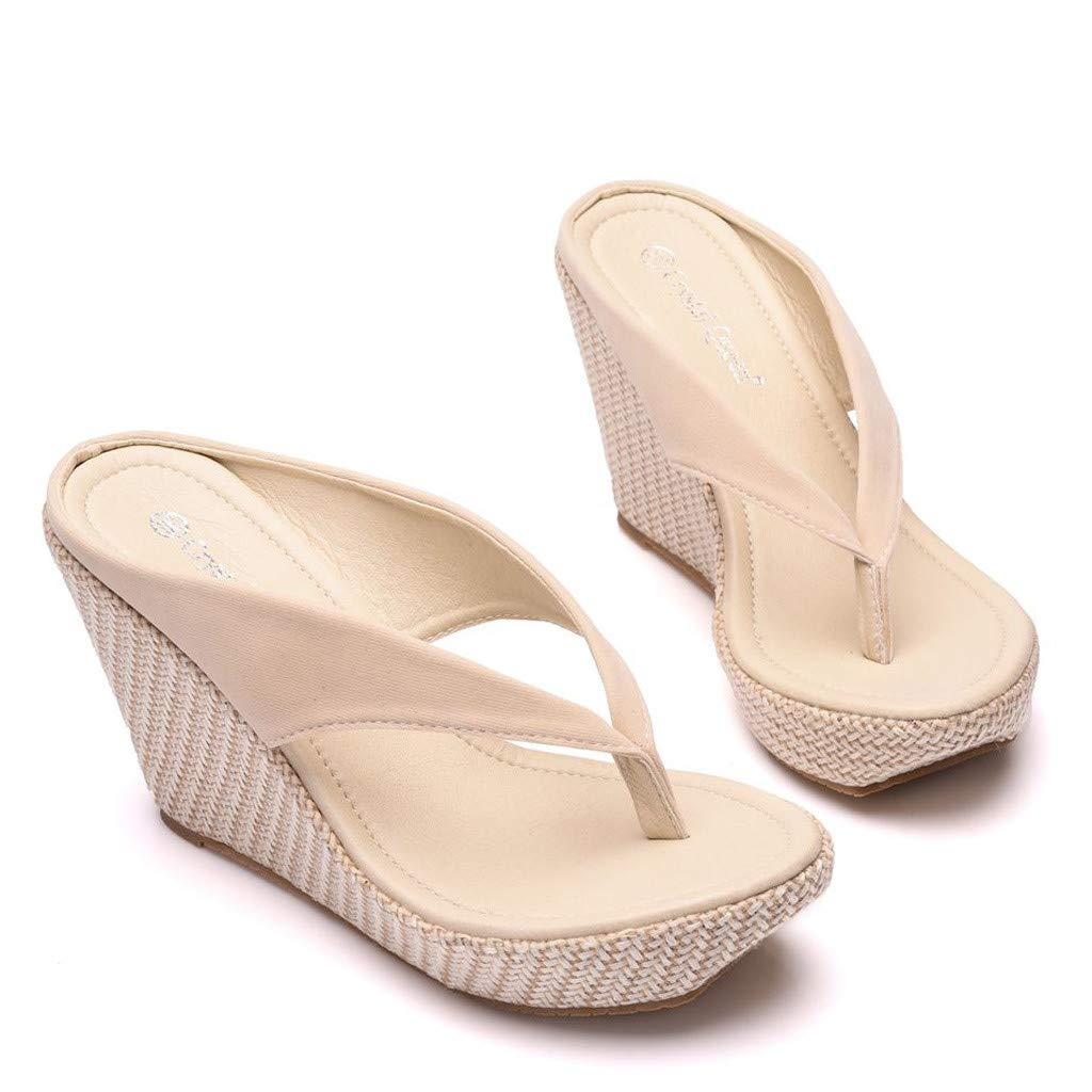 SMALLE_Shoes Wedge Flip Flops for Women,SMALLE◕‿◕ Women Beach Sandals Platform Wedges Sandals High Heels Wedges Slippers Beige by SMALLE_Shoes (Image #5)