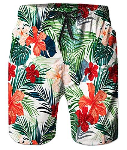 Stripe Beach Pants - Idgreatim Mens Summer 3D Red and Black Stripe Star Printed Funny Beach Pants Running Swimming Casual Short M