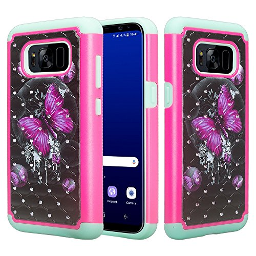 (Galaxy S8 Case, SOGA [Jewel Gem Series] Slim Diamond Bling Hybrid Protective Case Cover for Samsung Galaxy S8 - Pink Butterfly/Teal)