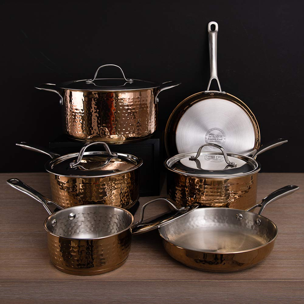Copper Pots and Pans Set - Hammered Copper Cookware Set 10pc, Stainless Steel Copper Pans Set, Copper Pots