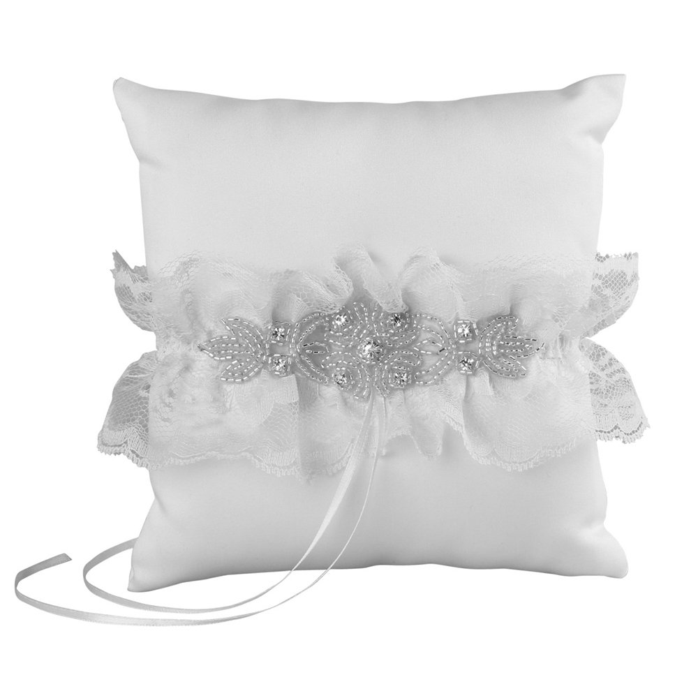 Cecilia Wedding Collection Ring Pillow, White