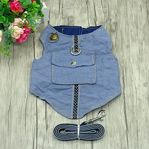 ZIRASS Denim Dog Harness And Leash Jeans Pet Vest Jacket For Small Puppy Dogs Blue M