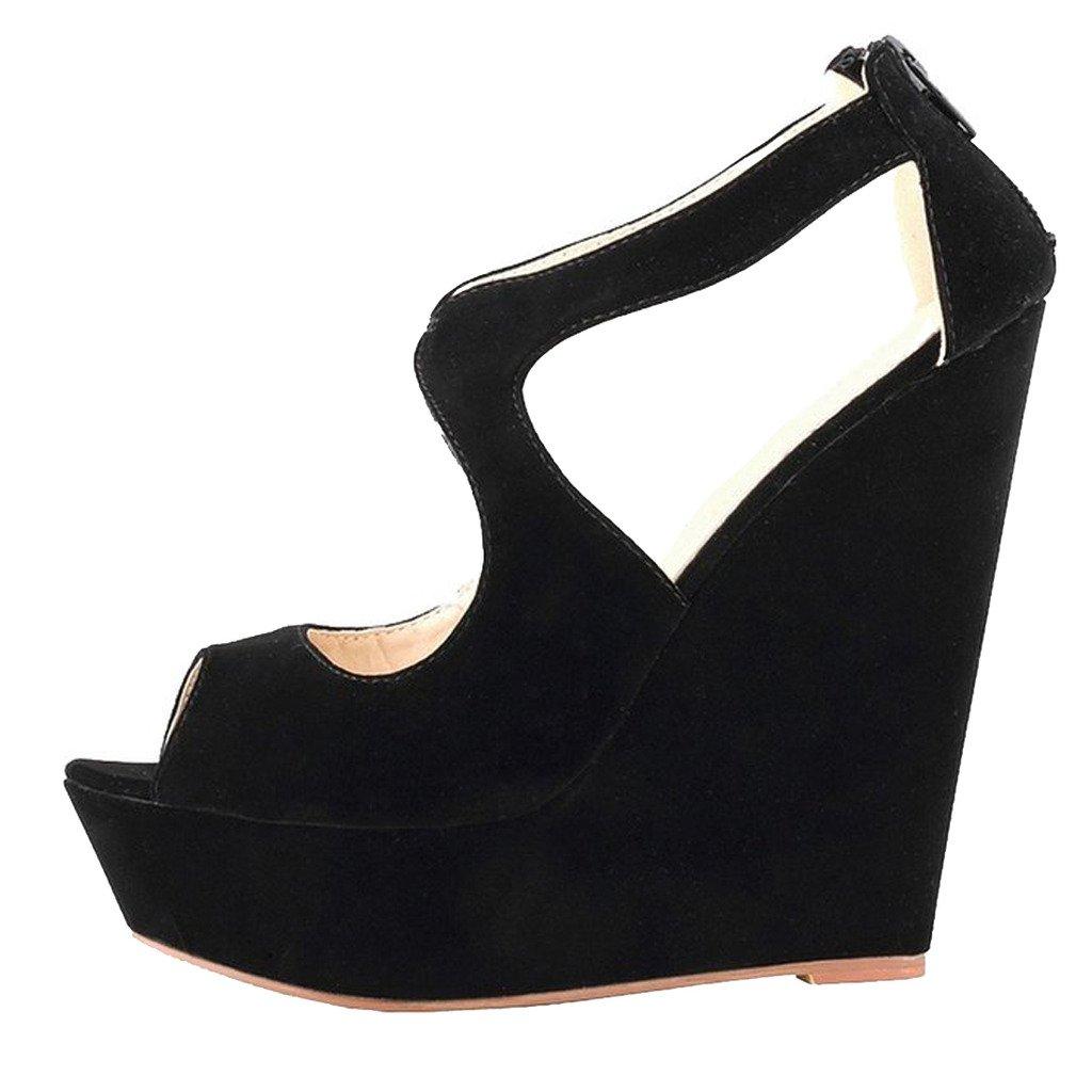 MERUMOTE Womens Wedges Heeled Sandals High Platforms Open Toe Zipper Shoes B01CWM5N28 8 M US|Faux Suede Black