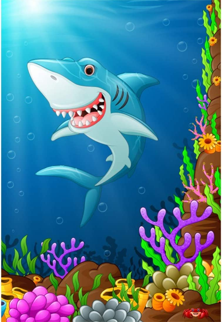 Yeele 8x10ft Cartoon Shark Background for Photography Seabed Underwater Coral Bubble Sunshine Photo Backdrop Pictures Studio Props Wallpaper