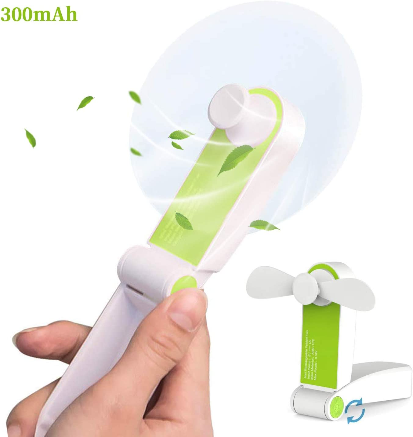 AUDIIOO Mini Handheld Fan USB Rechargeable – Portable Folding Fan Pocket Size Little Fan Lightweight Quiet Personal Fan 2 Adjustable Wind Speed for Office Home Workplace Travel Bus Subway Green