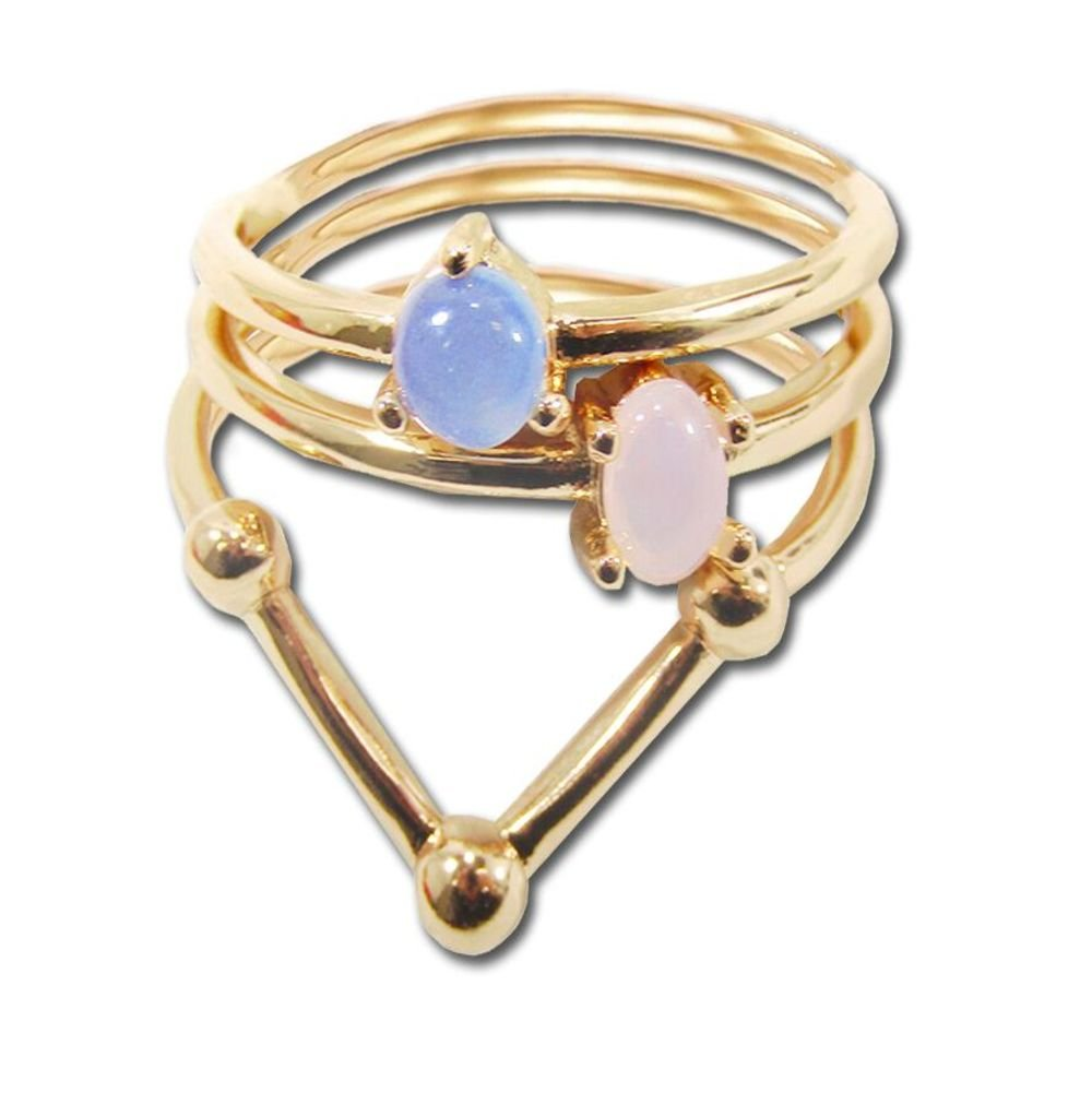 Ashley Nell Tipton Women's Opal Glass Plus Size Ring Set-10