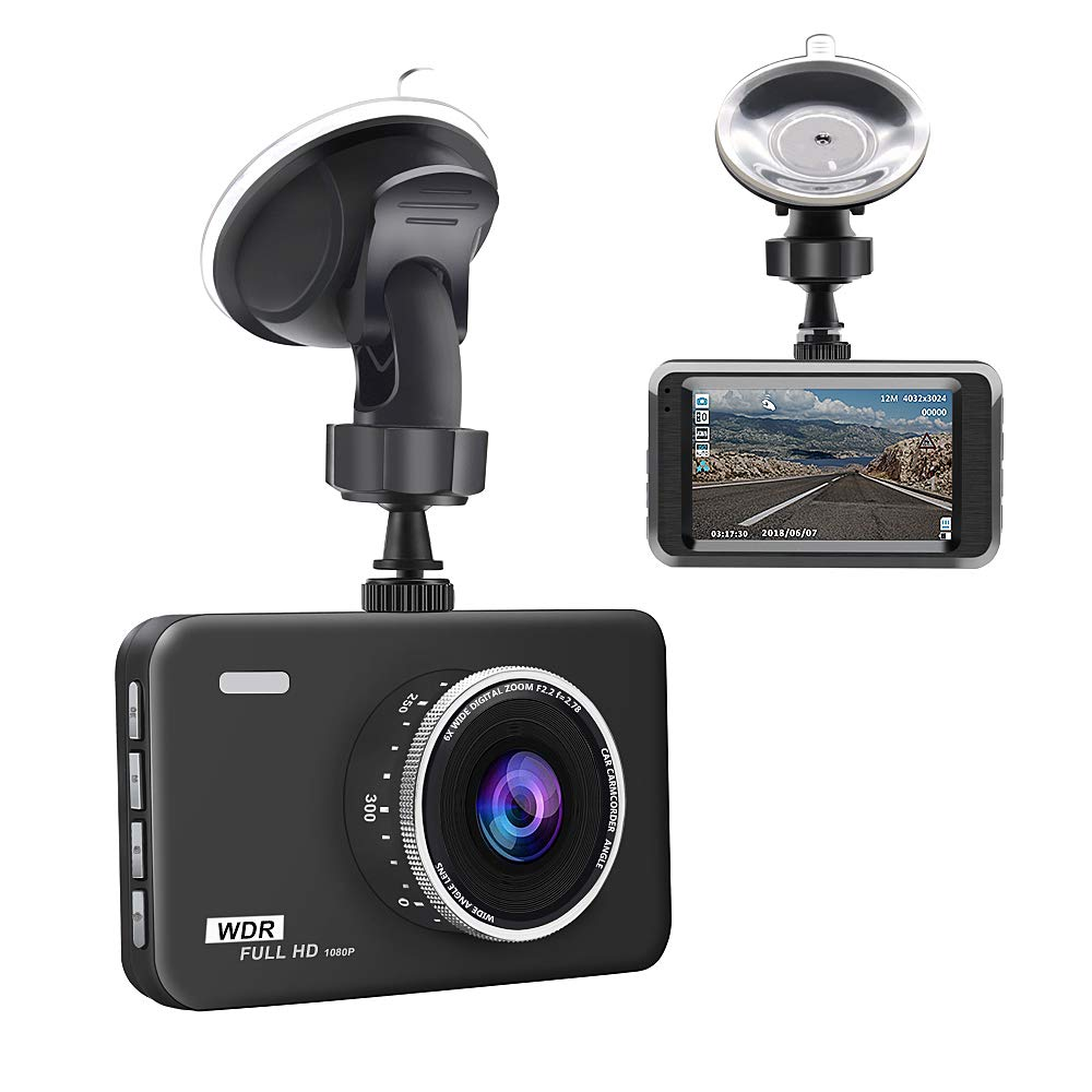 "junsun Dash Cam 3"" LCD Full HD 1080P 140° Wide Angle Dashboard Camera Car DVR Vehicle Dash Cam with Video Sensor,Loop Recording,Night Vision,G-Sensor,Packing Mode"