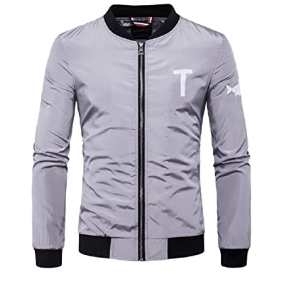 Abetteric Men Zip Up Pocket Letter Chic Lightweight Wind Rain Jacket