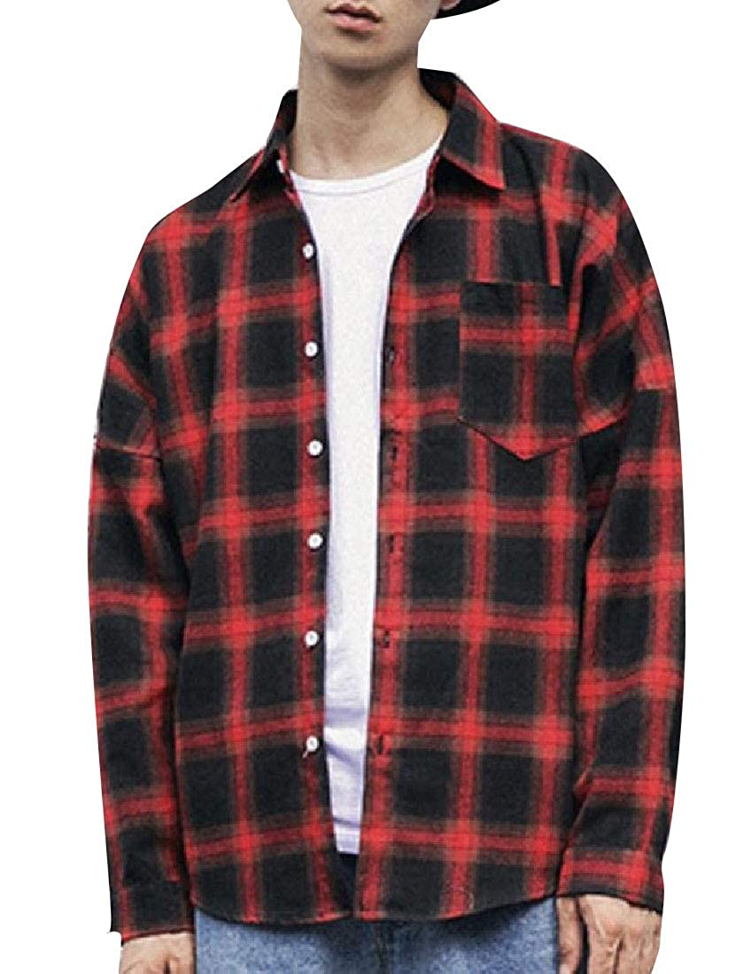 YUNY Men Long Sleeves Classic Plaid Relaxed-Fit Western Shirt Red M