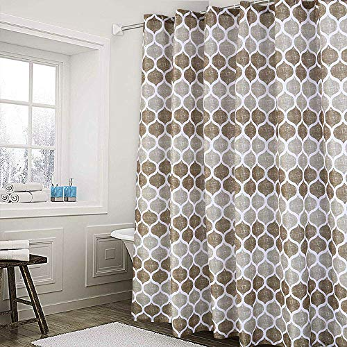 Haperlare Fabric Shower Curtain, Moroccan Geometric Design Shower Curtain for Bathroom, Heavy Textured Fabric Bath Curtain, 72 X 72 Inch, Taupe/Brown (Curtain Shower Brown)