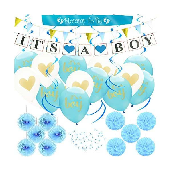 80pcs baby shower party decoration set for boy it s a boy banner
