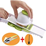 AMYAMY Multi-function 3pcs ( Vegetable Grater,Brush,Garlic Press) Julienne Slicer Cutter,French Fry Cutter,Potato Slicer - Mandoline Slicer - Food Slicer - French Fry Cutter Anti-injury Hand