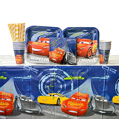 Cedar Crate Market Bundle: Disney Cars Party Supplies Pack for 16 Guests - Straws, Dinner Plates, Luncheon Napkins, Cups, and Table -