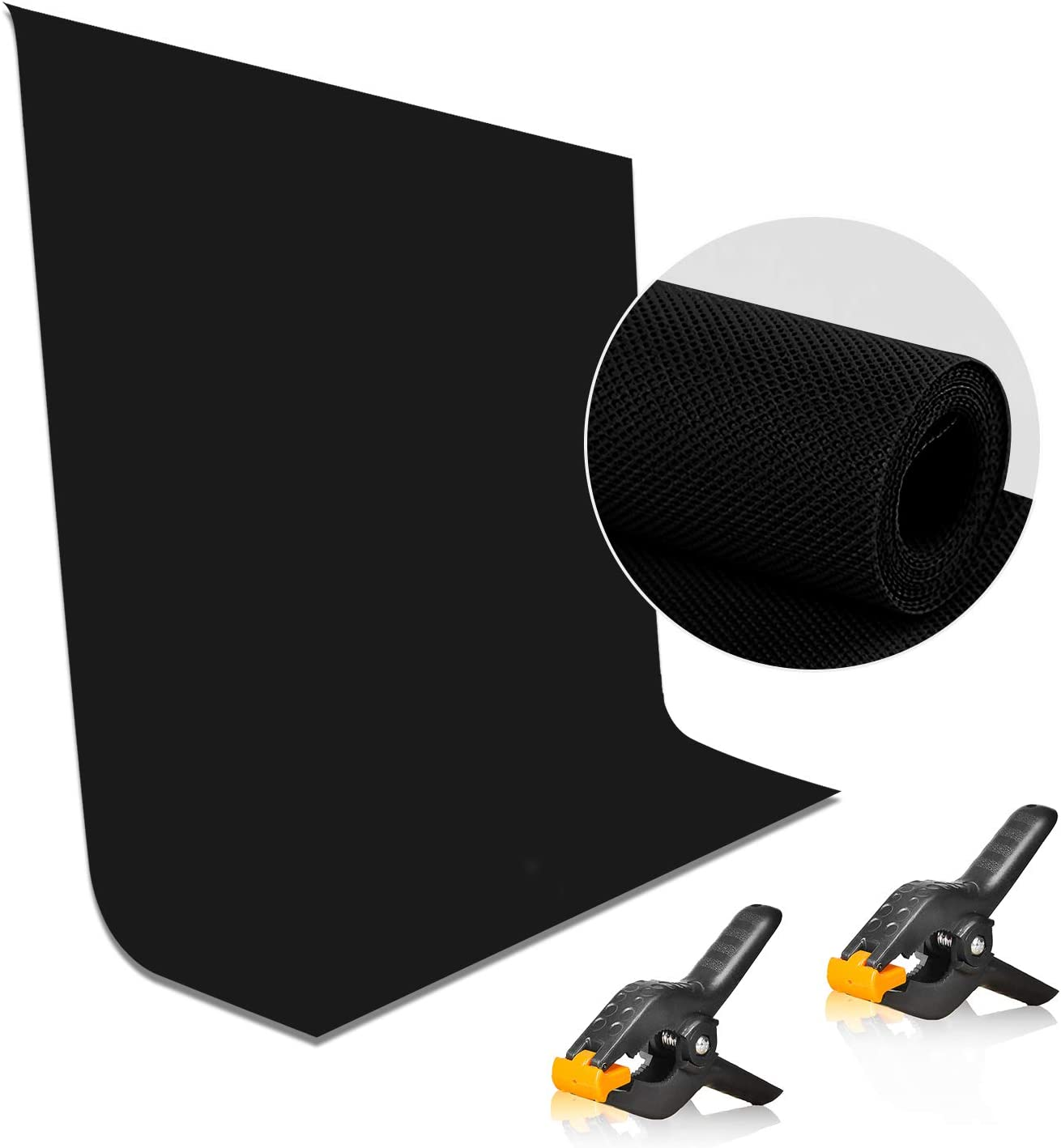 EMART 5x7 ft Non-Woven Fabric Solid Color Black Screen Photo Backdrop with 2 x Backdrop Clamps for Photoshoot, Studio, Video and Televison