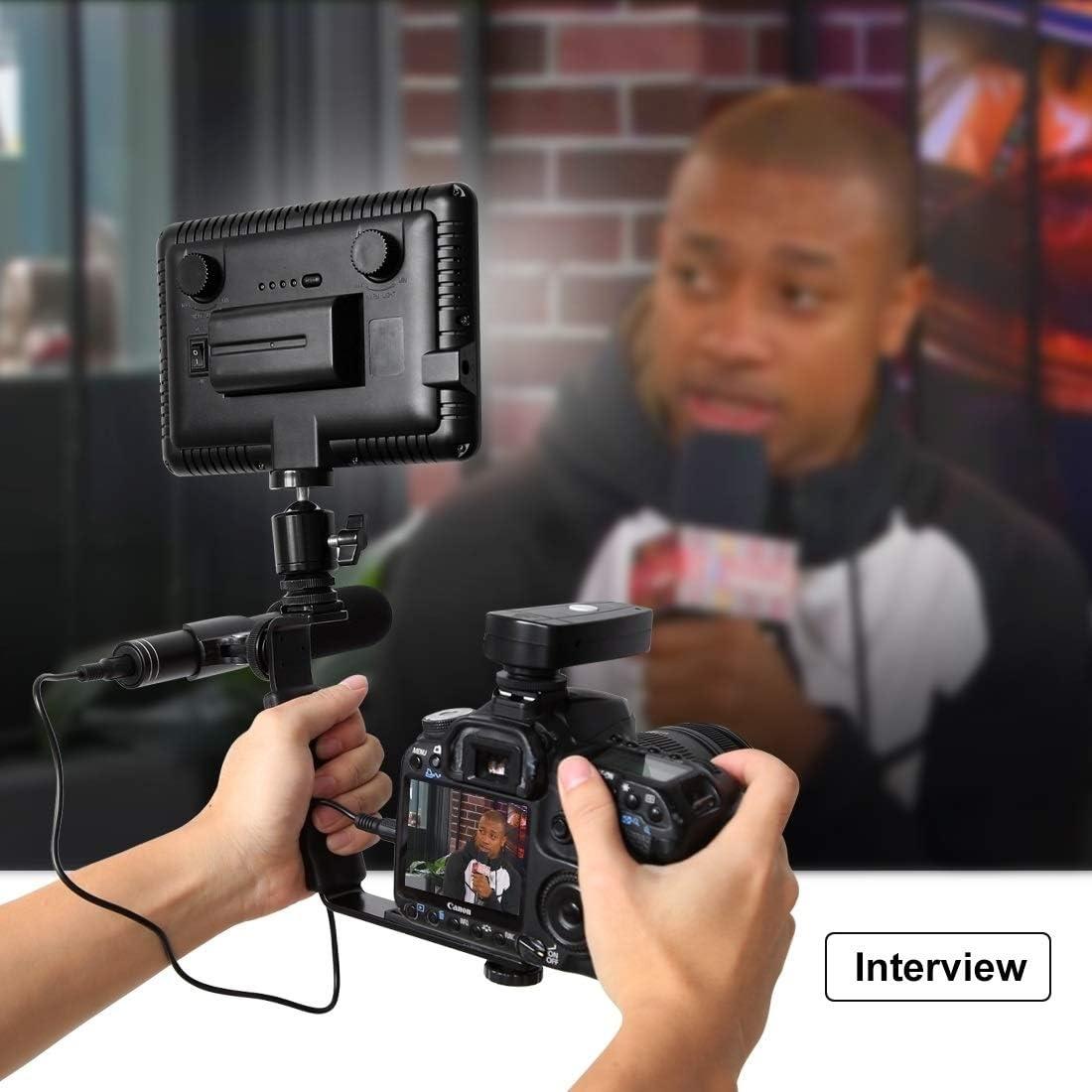 Protective Case for Sports Camera L-Shape Bracket Handheld Grip Holder with Dual Side Cold Shoe Mounts for Video Light Flash DSLR Camera
