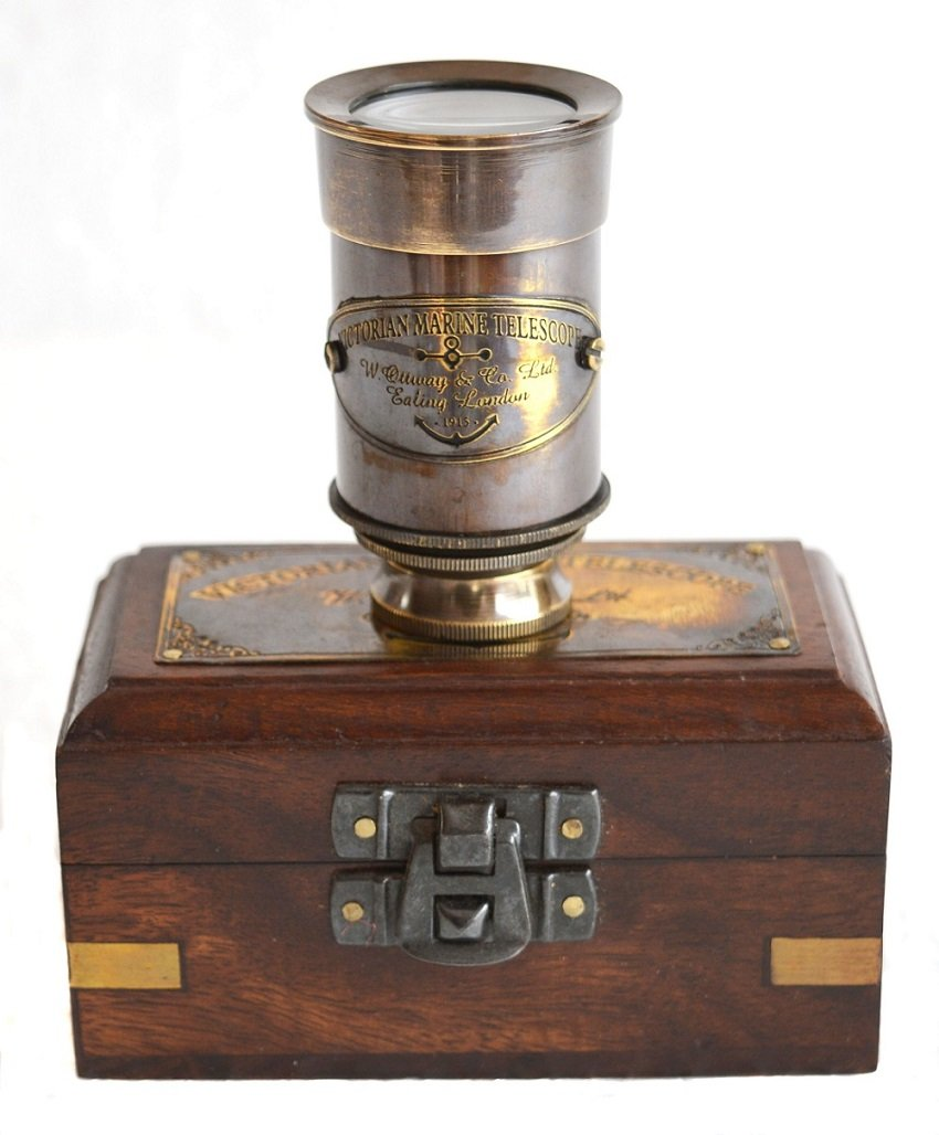 SA International Brass Antique Finish 6'''' Victorian Marine Handheld Mini Telescope with Wooden Box Nautical Gift by SA International (Image #3)