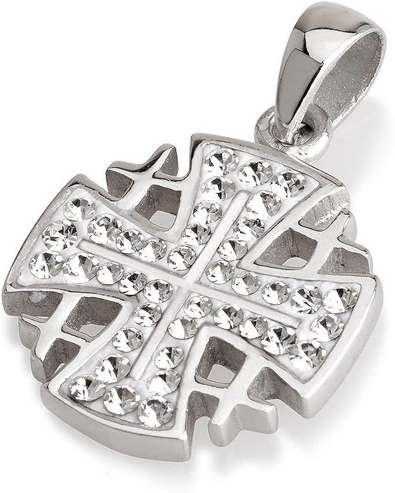 Cruz de Jerusalén colgante blanco Swarovski Pendientes de piedras preciosas de plata de ley 925
