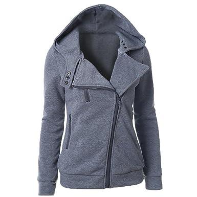 Perfectii Sweatjacke mit Zipper   Kapuze, Damen Zip-Hood Kapuzenjacke  Kapuzenpllover Warme Bluse Sweatshirt 6fd3e80b14