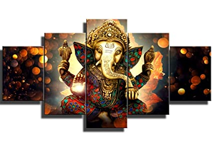 Amazon.com: Hindu God Ganesha 5 PCS HD Canvas Printed Wall Art ...
