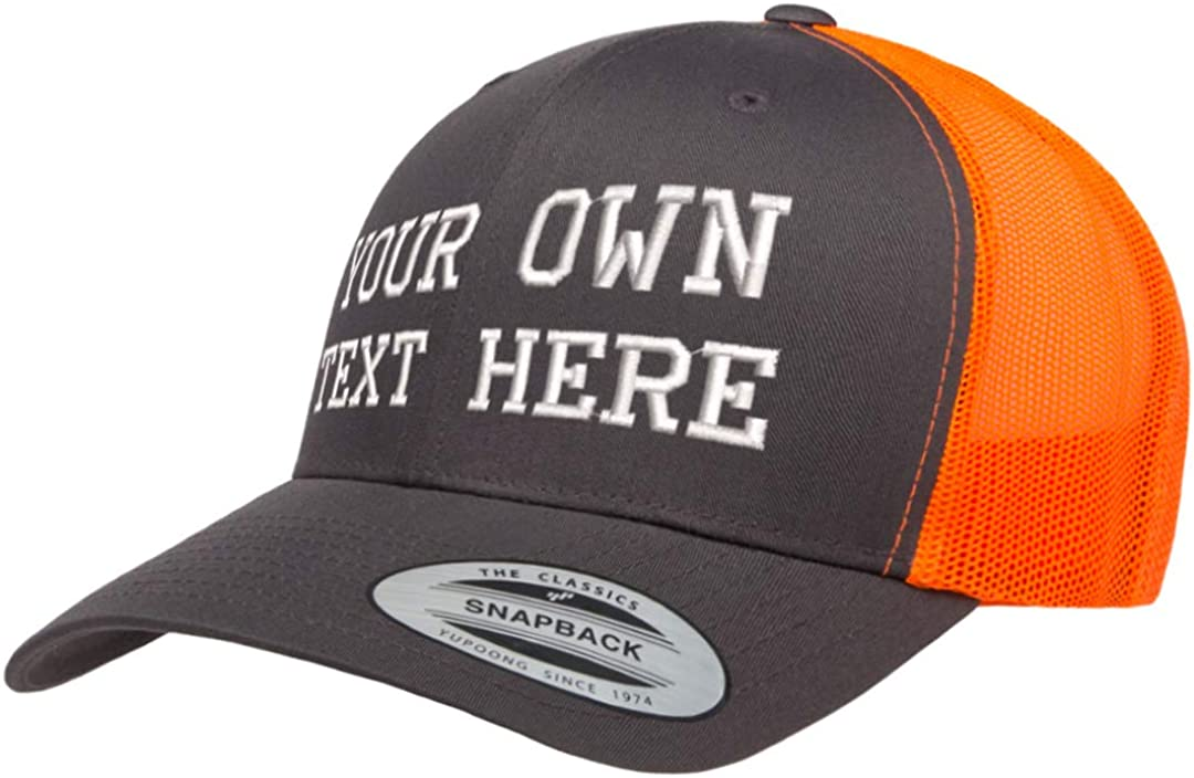 Custom hat Embroider Your own Text Yupoong Trucker Snapback Cap 6606 Mesh Back