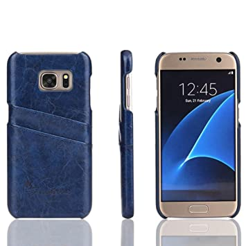 quality design fc44f 44eca Tenworld Samsung Galaxy S7 Case Cover ! ! ! Faux Leather Case Card Slot  Case Cover (Blue)