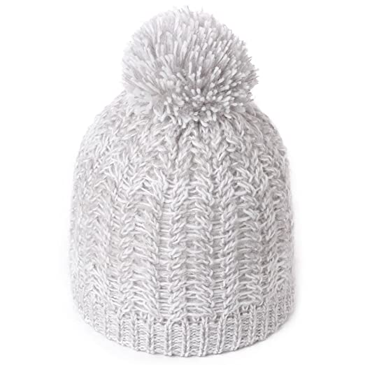 SIGGI Ladies Slouch Beanie Hat with Pom Pom Winter Knitted Bobble Hat Grey  for Women 55 7d2ea8674999