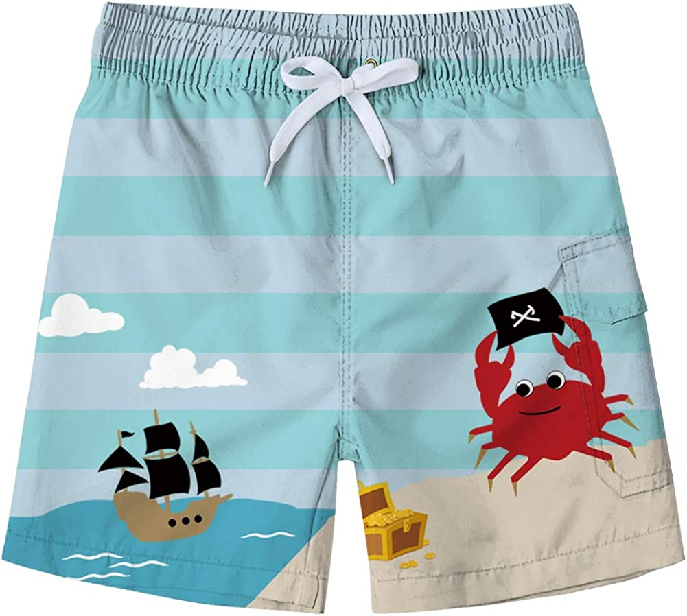 Freshhoodies Little & Big Boys Swim Trunks with Mesh Lining Summer Casual Beach Shorts
