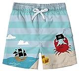 Freshhoodies Kids Boys Swim Trunks with Mesh Lining 3D Cute Pattern Print Beach Shorts Sailboat Tropical Vacation Swim Shorts