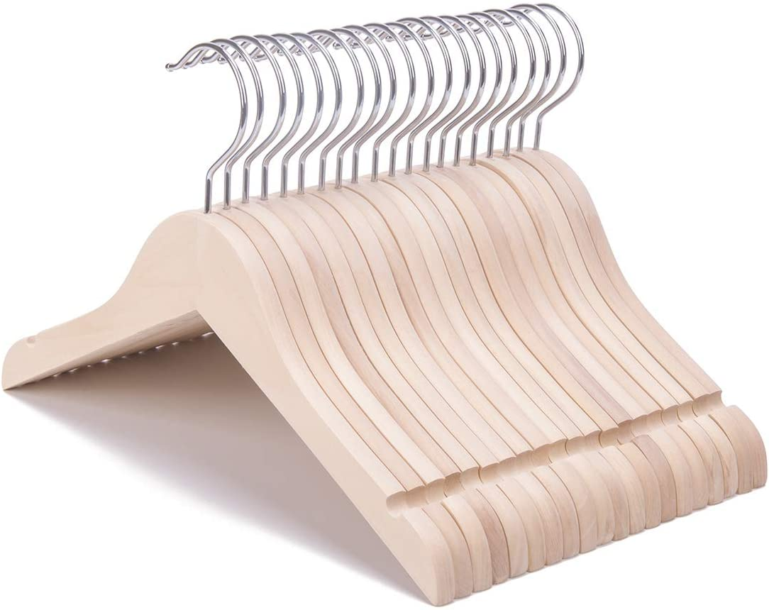360/°Stronger Anti-Rust Chrome Swivel Hook Nature Smile 20 Pack Unfinished//Natural Kids Baby Children Toddler Wooden Shirt Dress Coat Hangers with No Painting Extra Smoothly Cut Notches