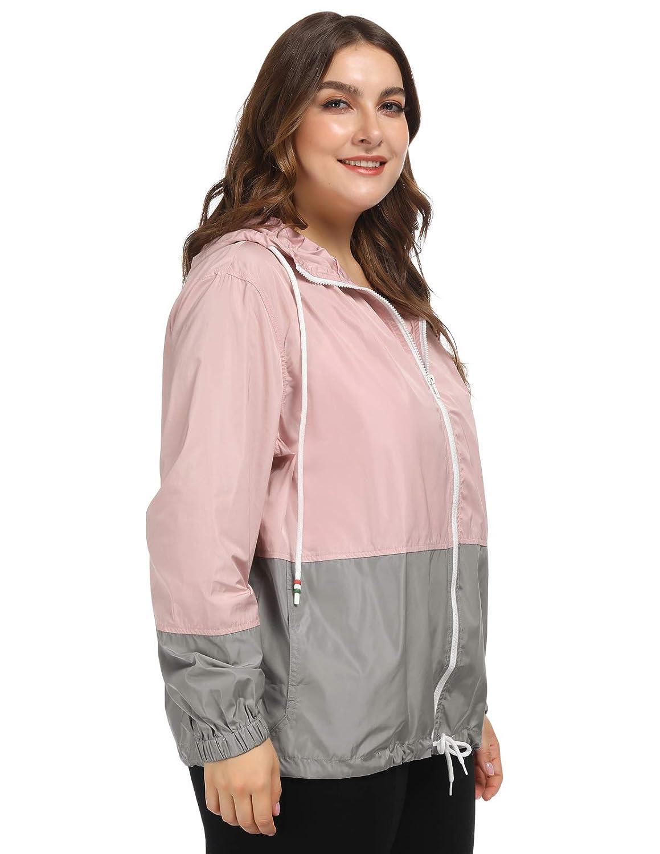 0037c1db2 Hanna Nikole Women Waterproof Hooded Raincoat Plus Size Lightweight Rain  Jacket