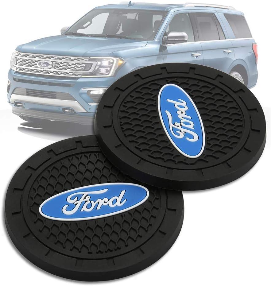 2 PCS YOJOHUA 2.75 Inch Vehicle Travel Car Interior Accessories for Ford Cup Holder Coaster Auto Interior Decoration Pad