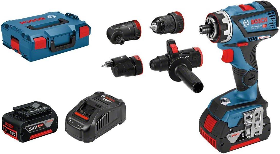 Bosch Professional GSR 18V-60 FC - Atornillador a batería (2 baterías x 5.0 Ah, 18V, 60 Nm, FlexiClick, 4 adaptadores, en L-BOXX)