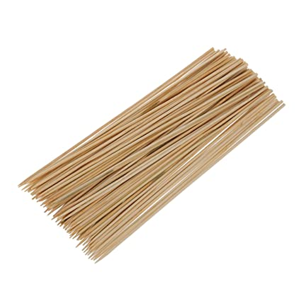 SODIAL(R) Camping Wooden Color Bamboo BBQ Skewers Barbecue Shish Kabob Sticks 95 Pcs