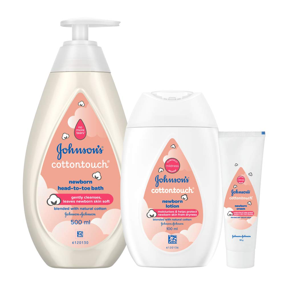 Johnson's Baby Cotton Touch Combo Offer Pack– Baby Bath 500ml, Baby Lotion 100ml with Free Baby Cream 50g
