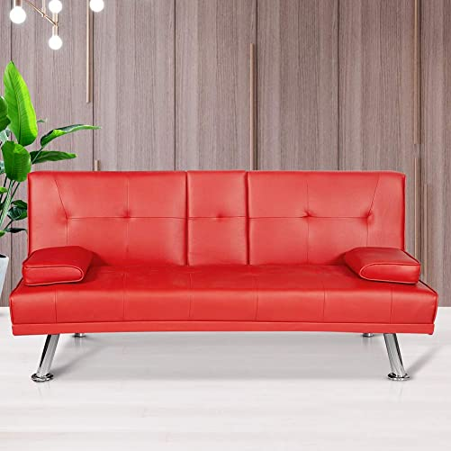 Hmlinktt Futon Sofa Convertible Small Couch Modern Faux Leather Recliner with 2 Cup Holders Metal Legs Home Furniture Red