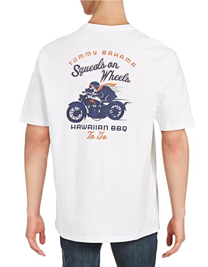 02b9aad6 Image Unavailable. Image not available for. Color: Tommy Bahama Squeals on  Wheels Small White T-Shirt
