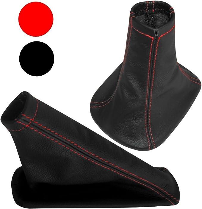 Soufflet levier de vitesse et frein /à main en 100/% CUIR v/éritable avec coutures//surpiq/ûres rouges Aerzetix